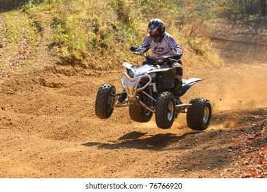 ZABREH, CZECH REPUBLIC - OCTOBER 30. Unidentified racer riding a quad. Race ATVs in Zabreh, Czech Republic went up 30 October 2010.