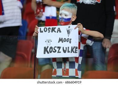 ZABRZE, POLAND - JULY 29, 2017: Polish Premier Football League Gornik Zabrze - Wisla Krakow o/p fans