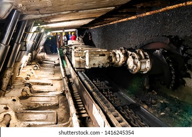 ZABRZE, POLAND - MAY 17: Long-wall Mining. Shearer, with two rotating cutting drums and movable hydraulic powered roof supports called shields in coal mine, Zabrze, Poland