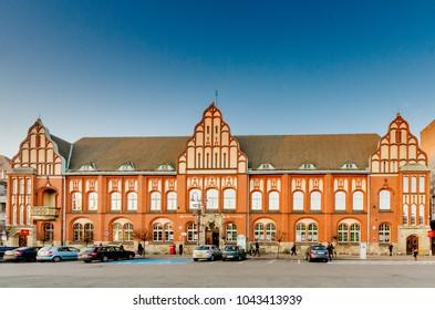 ZABRZE, SILESIA PROVINCE / POLAND - OCTOBER 15, 2016: Main Post office (1909) in Zabrze (Hindenburg), Railway Station Square.