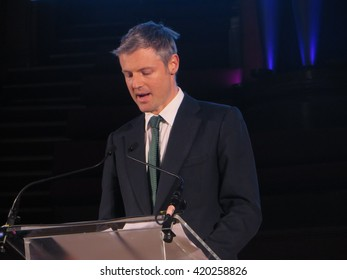 Zac Goldsmith, Richmond Park MP and Conservative party candidate for Mayor of London, addresses a hustings on February 23rd 2016