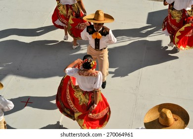 Zacatecas, Mexico, 31 July 2013: A dance group from mexico is performing on stage at the 18th Festival Cultural Internacional Zacatecas del Folclor. It is the biggest international folcloric festival