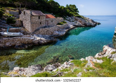 Zace bay with its turquoise water and old stone houses. Lastovo is one of the most remote islands in Croatia.