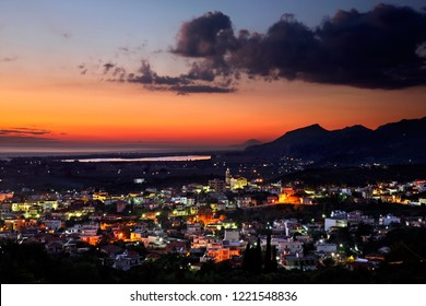 ZACHARO TOWN, ILEIA, PELOPONNESE, GREECE. Panoramic view of the town. In the background, Kaiafas lake and the Ionian sea.