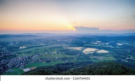 Zachod slonca w gorach, widok z powietrza, Sunset in the mountains - Shutterstock ID 1164764431