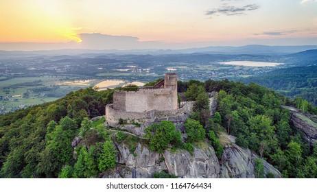 Zachod slonca w gorach, widok z powietrza, Sunset in the mountains - Shutterstock ID 1164764434