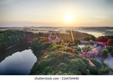 Zachod slonca w gorach, widok z powietrza, Sunset in the mountains - Shutterstock ID 1164764440