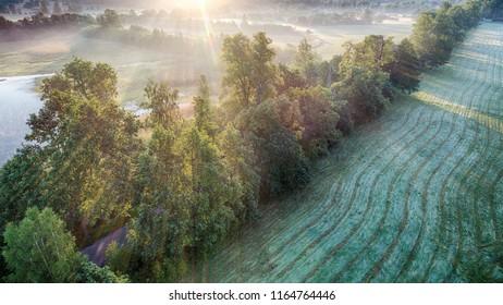Zachod slonca w gorach, widok z powietrza, Sunset in the mountains - Shutterstock ID 1164764446