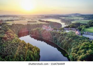 Zachod slonca w gorach, widok z powietrza, Sunset in the mountains - Shutterstock ID 1164764449