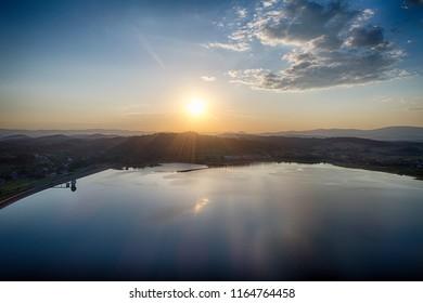 Zachod slonca w gorach, widok z powietrza, Sunset in the mountains - Shutterstock ID 1164764458