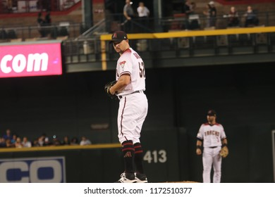 Zack Godley pitcher for the Arizona Diamondbacks at Chase Field in Phoenix Arizona USA August 3,2018.