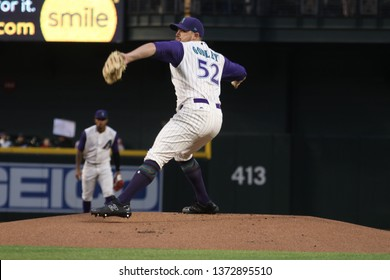 Zack Godley pitcher for the Arizona Diamondbacks at Chase Field in Phoenix,AZ/USA April 13,2019.