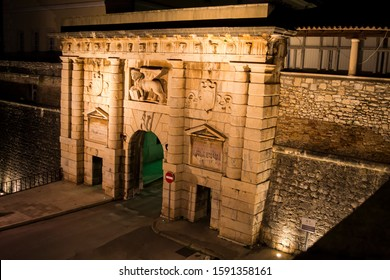 Zadar city gates at night, entrance to the old town