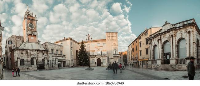 Zadar, Croatia - 11.29.2020. Panorama of National square - Narodni trg in Zadar