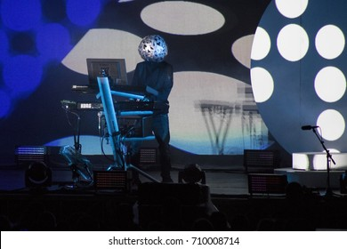 ZADAR, CROATIA - AUGUST 12, 2017: Pet Shop Boys on tour 2017 at Jazine Zadar. The band Pet Shop Boy Neil Tennant and Chris Lowe on stage