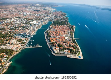 ZADAR, CROATIA - August 23, 2012 - Aerial view of Zadar old city, Croatia with sea and boats.