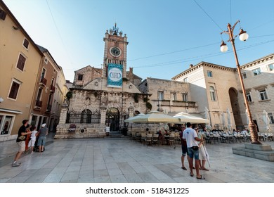 ZADAR, CROATIA - JULY 10, 2016: People's Square in Zadar was established in medieval times as the Plateau magna (big square), the center of the city administration with today's City Lodge, City Guard