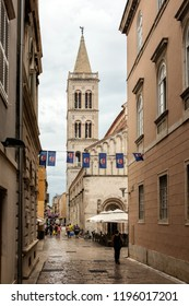 Zadar, Croatia, July 23, 2018:  Bell tower of the Zadar Cathedral of St. Anastasia in Zadar, Croatia. The tower construction started in 1452 and finished in 1893.