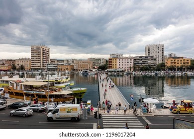 Zadar, Croatia, July 23, 2018: City bridge is situated in the middle of the seafront and connects newer neighborhood with peninsula. It is the busiest pedestrian crossing in Zadar.