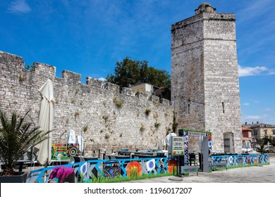 Zadar, Croatia, July 23, 2018: The pentagonal Captain's Tower on the Five Wells Square in Zadar, Croatia, built by the Venetians to strengthen the city against Turkish attacks.