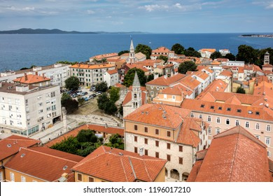 Zadar, Croatia, July 23, 2018: Zadar, the oldest continuously inhabited Croatian city, the second largest city of the region of Dalmatia and a UNESCO's World Heritage Site.