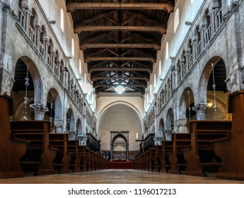 Zadar, Croatia, July 23, 2018: Interior of the Zadar Cathedral of St. Anastasia in Zadar, Croatia, constructed in the Romanesque style during the 12th and 13th centuries.