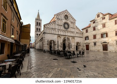 Zadar, Croatia, July 23, 2018: Zadar Cathedral of St. Anastasia in Zadar, Croatia, constructed in the Romanesque style during the 12th and 13th centuries.