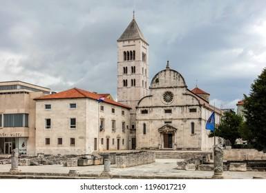 Zadar, Croatia, July 23, 2018:  Church of St. Mary in Zadar, Croatia, a Benedictine monastery founded in 1066.