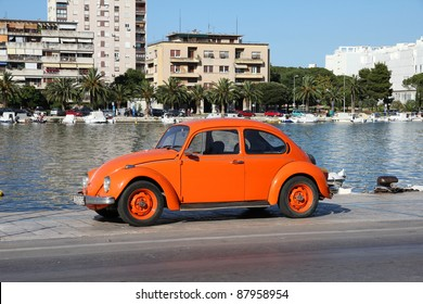 ZADAR, CROATIA - JUNE 22: VW Beetle car on June 22, 2011 in Zadar, Croatia. More 21m of these VWs were manufactured from 1938 to 2003, making it one of most successful cars ever.