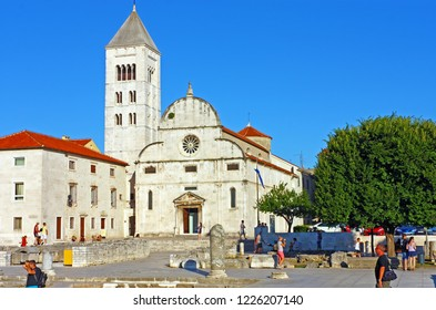 ZADAR, CROATIA - JUNE 25, 2011: St. Mary's church located in the old city of Zadar opposite St. Donatus Church