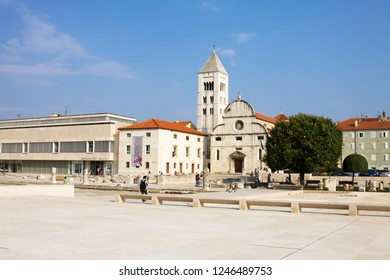 ZADAR, CROATIA - SEPTEMBER 6, 2012: The Archaeological museum, St. Mary's Church and other buildings on the Roman Forum in Zadar. Zadar is a city in Croatia, the historical center of Dalmatia.