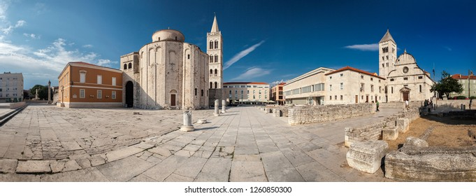 ZADAR, CROATIA-JUNI 08, 2018: Historic  center of the city. Zadar is one of the largest cities in Croatia.