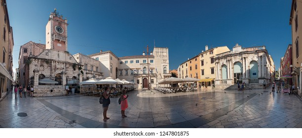 ZADAR, CROATIA-JUNI 26, 2018: Zadar is the oldest continuously inhabited Croatian city. It is situated on the Adriatic Sea, at the northwestern part of Ravni Kotari region.