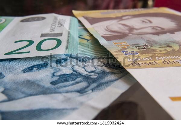 Zadar/Croatia - 1/14/2020. Serbian dinar bills closeup