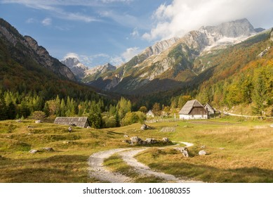 Zadnja Trenta valley with old alpine cottages and mountains in the background, Triglav National Park, Julian Alps, Slovenia