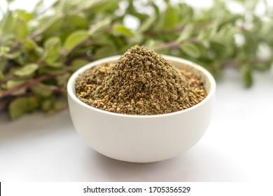 zaetar, Thyme plant , Za'atar  , aromatic evergreen herbs