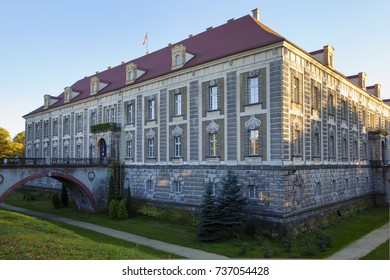 ZAGAN, POLAND - September 16th, 2017: Baroque Palace built in 1631-1686 is called at present the Palace of Culture of Zagan, located by river Bobr.