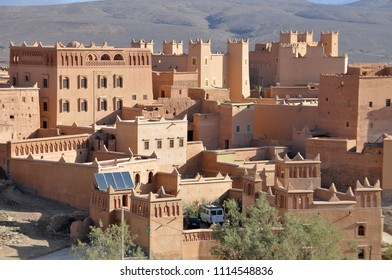 Zagora, Morocco - march 20, 2012: Modern hotel buildings built as Berber-style kasbah in the center of the village of Nkob