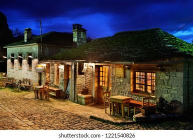 "ZAGORI REGION, EPIRUS, GREECE- January 29, 2009. A beautiful café-restaurant in Megalo (""Big"") Papingo village, Ioannina prefecture."