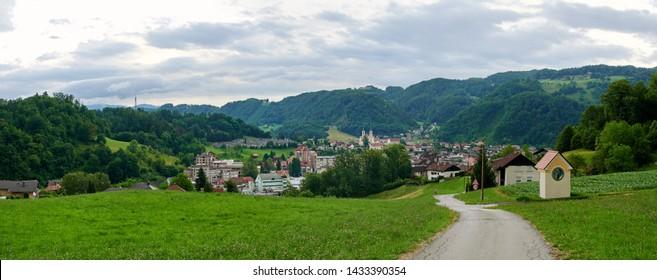Zagorje ob Savi, city landscape panorama