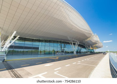 ZAGREB AIRPORT - 24 APRIL 2017: Exterior of arrivals terminal.