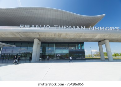 ZAGREB AIRPORT - 24 APRIL 2017: Front entrance with sign Franjo Tudman Airport.
