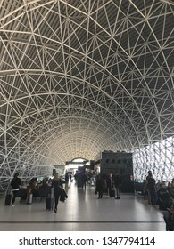 ZAGREB AIRPORT - 24 MARCH 2019: Passengers waiting for delayed flight to London.