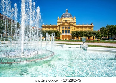 The Zagreb Art Pavilion and beautiful park on a sunny summer day in city center of Zagreb, capital of Croatia.