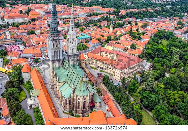 Zagreb Cathedral with Archbishop's Palace, Croatia. Helicopter aerial view.