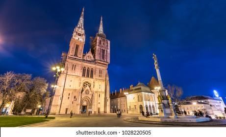 Zagreb cathedral at night Cratia.