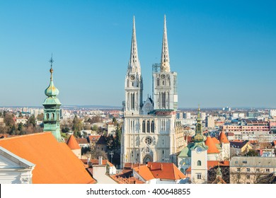 Zagreb cathedral and roof of St Catherine church from Upper town, panoramic view