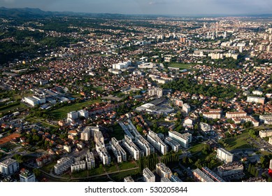 Zagreb city center, the capital of Croatia, as seen from air.
