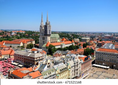 Zagreb city centre with The Cathedral of the Assumption, Ban Jelacic Square and Dolac Market.