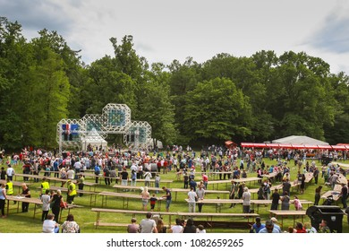 ZAGREB, CROATIA - 01 MAY, 2018: The citizens of Zagreb enjoy the program on the main stage during the International Labor Day at the Maksimir Park.
